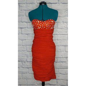 NWT Romeo & Juliet Couture Womens Red Ruched dress